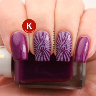 Purple and lilac music stamping nail art by Claire Kerr