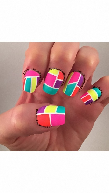 Neon Mani nail art by Workoutqueen123