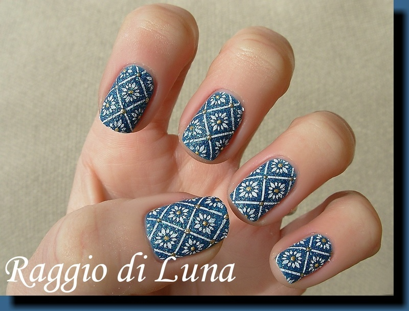 Stamping: White little flowers on ocean green nail art by Tanja