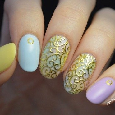 Spring pastels nail art by Furious Filer