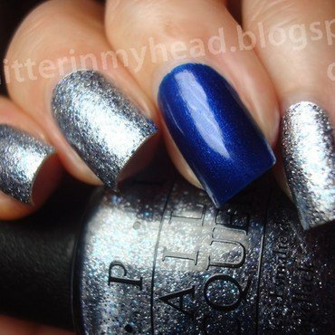 Silver & Blue nail art by The Wonderful Pinkness