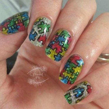 Autism Awareness 2015 nail art by Serra Clark