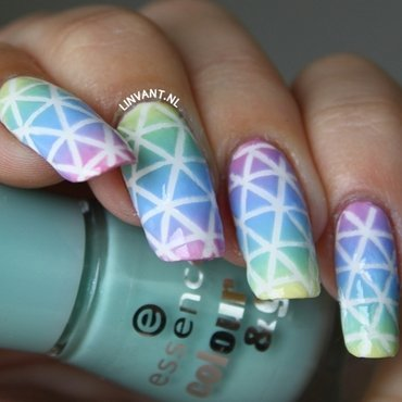 Stripes under the rainbow nail art by Lin van T
