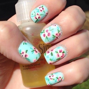 Summer flowers nail art by Sarah Bellwood