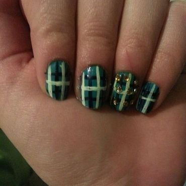 Turquoise Plaid nail art by Maya Harran