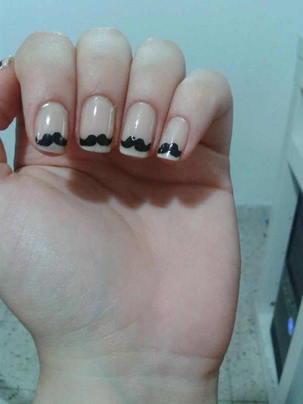Moustache - Movember nails nail art by Maya Harran