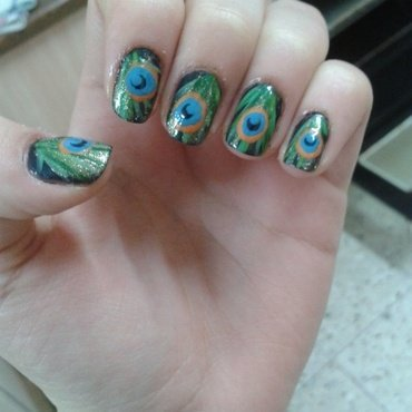 Peacock nail art by Maya Harran