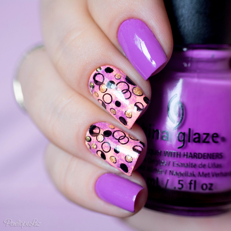 stamping neon nail art by Penélope Luz
