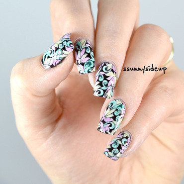 Sheer tints stamping nail art by ssunnysideup (Sabrina)