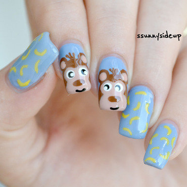 monkey nails nail art by ssunnysideup (Sabrina)