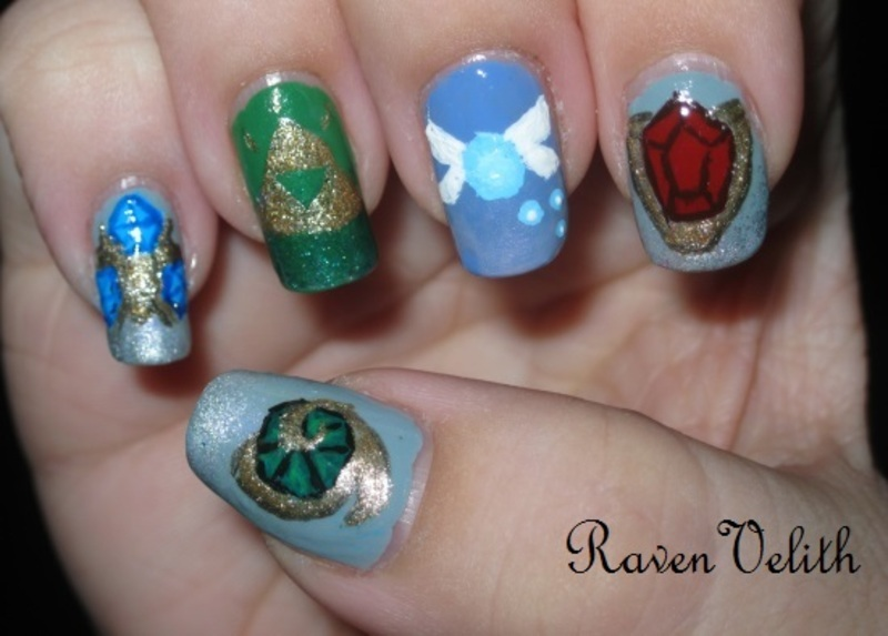 The Legend of Zelda: Ocarina of Time nail art by Lynni V.
