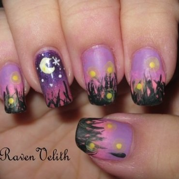 Fireflies at Sunset nail art by Lynni V.