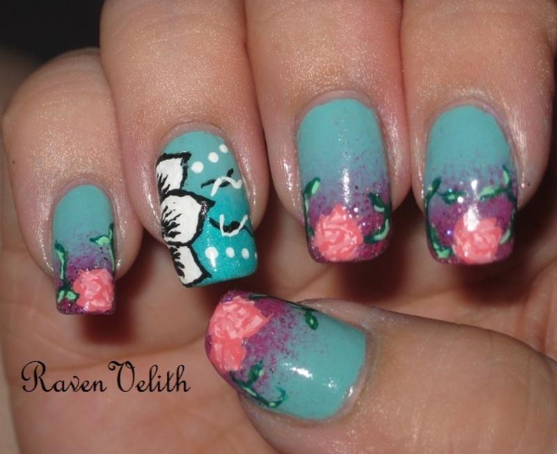 Floral-y Goodness nail art by Lynni V.