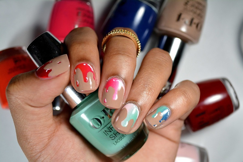 Gradient Drip nail art by Fatimah