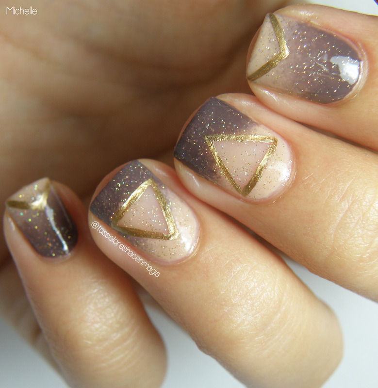 Negative triangles nail art by Michelle Mullett
