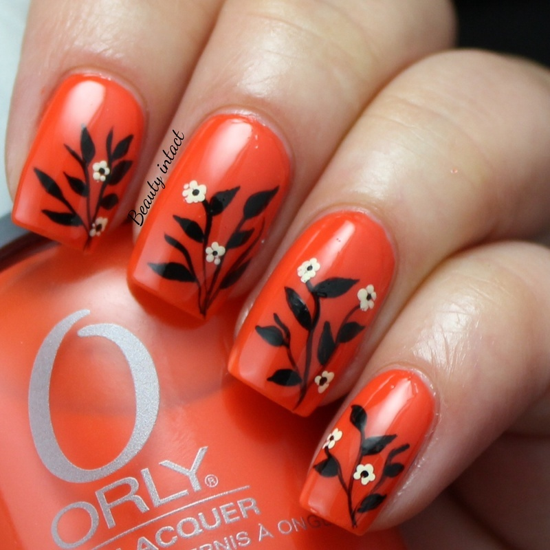Leafy nails nail art by Beauty Intact