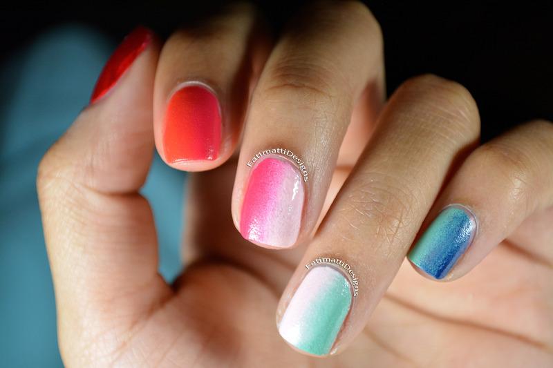 Vertical Gradient nail art by Fatimah