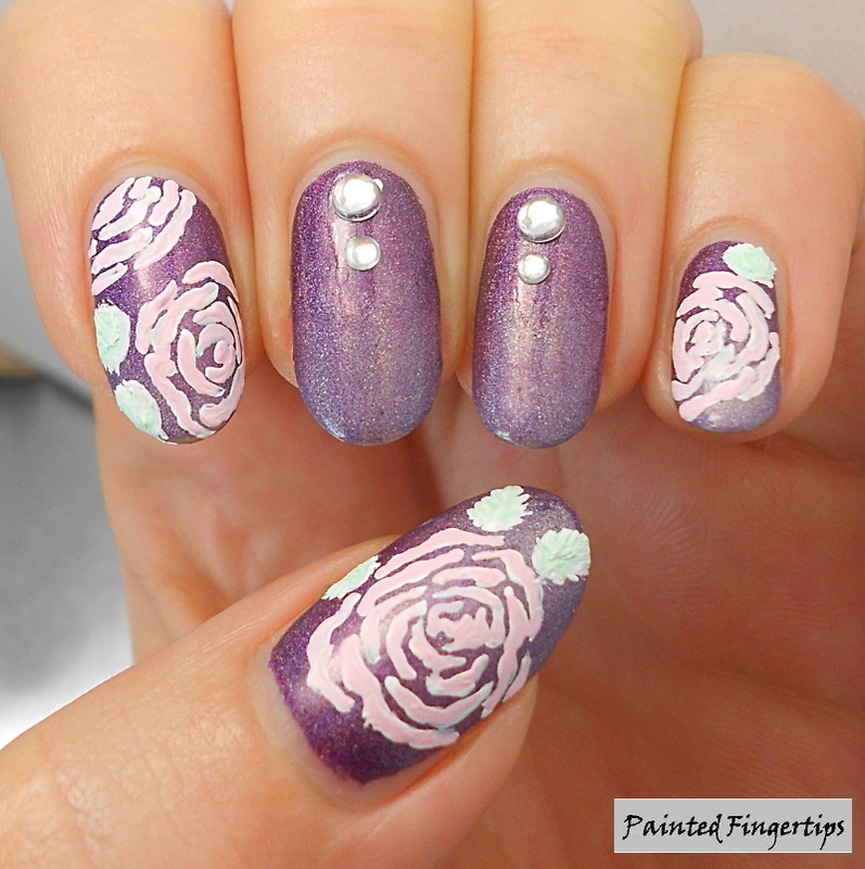 Roses and a gradient nail art by Kerry_Fingertips