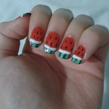 Watermelon  nail art by Maya Harran