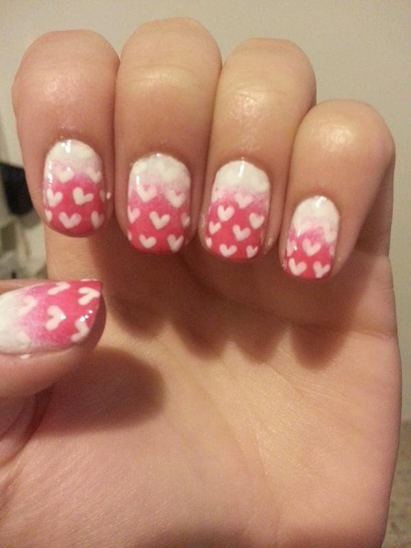 Valentine's hearts nail art by Maya Harran