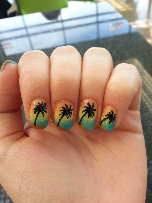 Palm Tree - Vacation nail art by Maya Harran