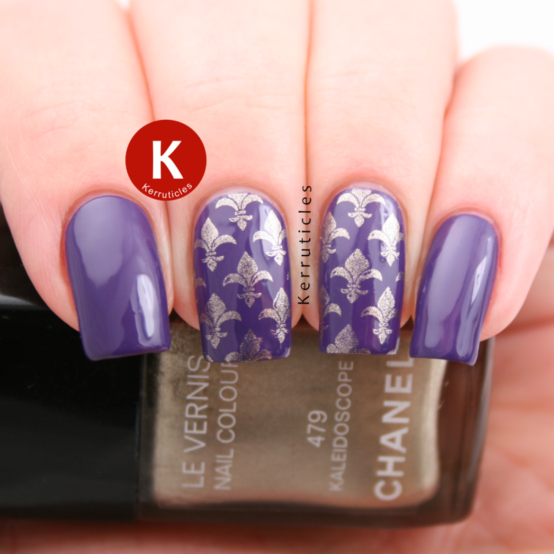 Purple stamped with a gold fleur-de-lys design nail art by Claire Kerr