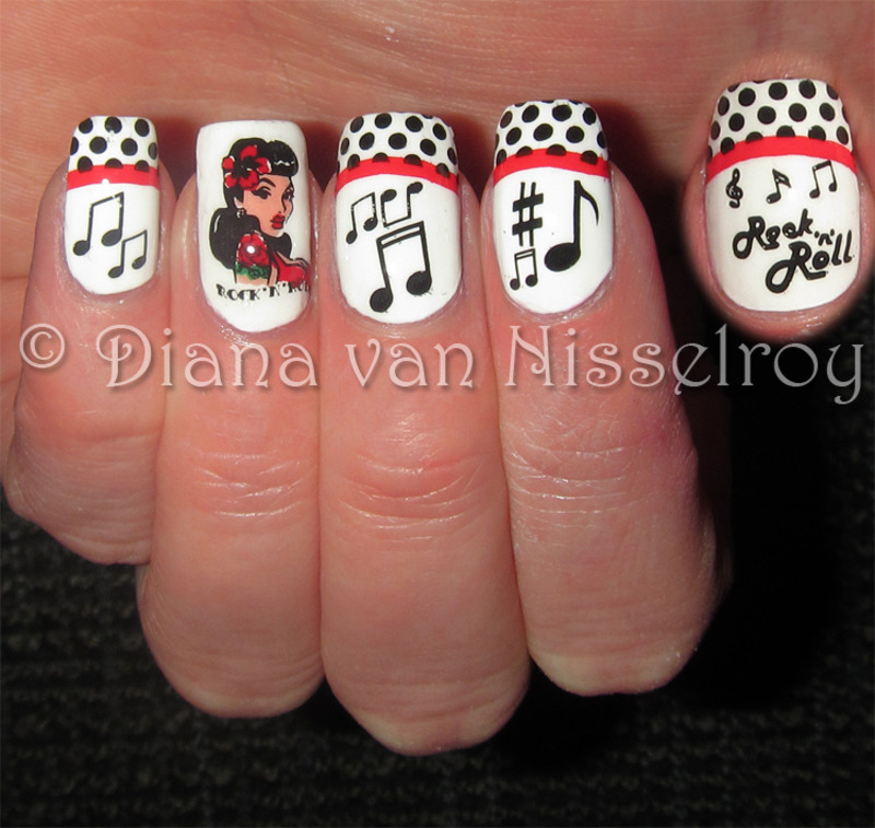 Rock \'n\' Roll girl nail art by Diana van Nisselroy - Nailpolis ...