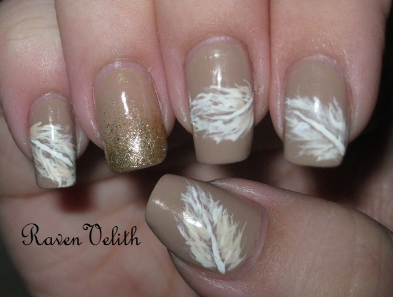 Neutral Feathers nail art by Lynni V.