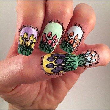 A Rainbow of Tulips nail art by Workoutqueen123