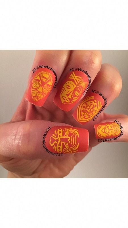 Tribal Mask  nail art by Workoutqueen123