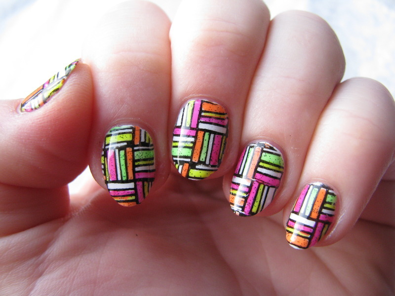 Neon stamping decals nail art by Nail Crazinesss