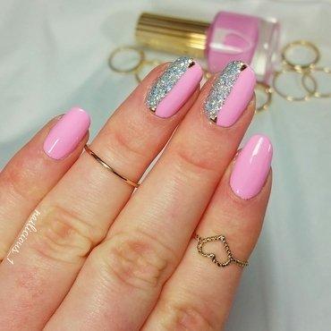 Pink & Glitter nail art by nailicious_1
