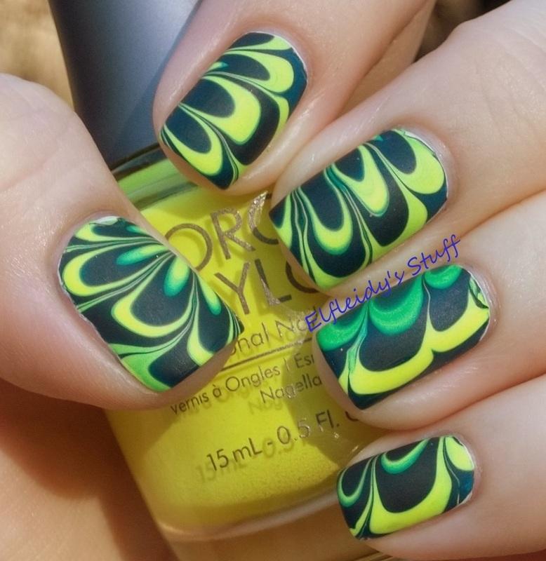 Neon water marble, take two! nail art by Jenette Maitland-Tomblin