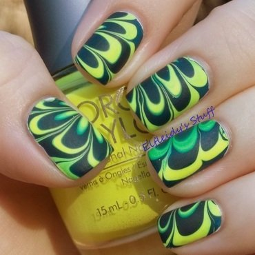 Neon water marble, take two! nail art by Jenette Maitland-Tomblin