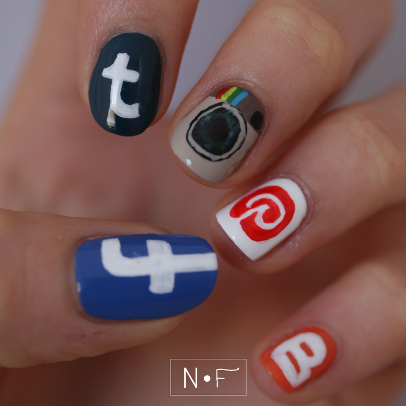 Social Media nail art by NerdyFleurty