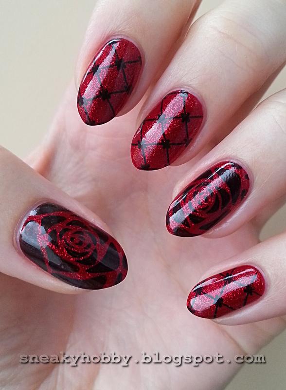 Dark Red nail art by Mgielka M