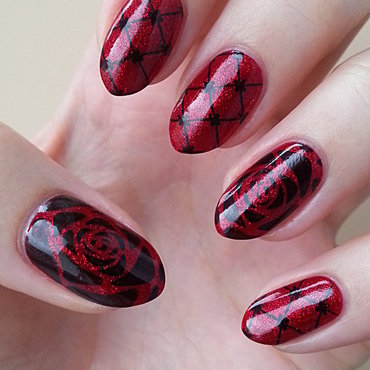 Dark Red nail art by Mgielka M