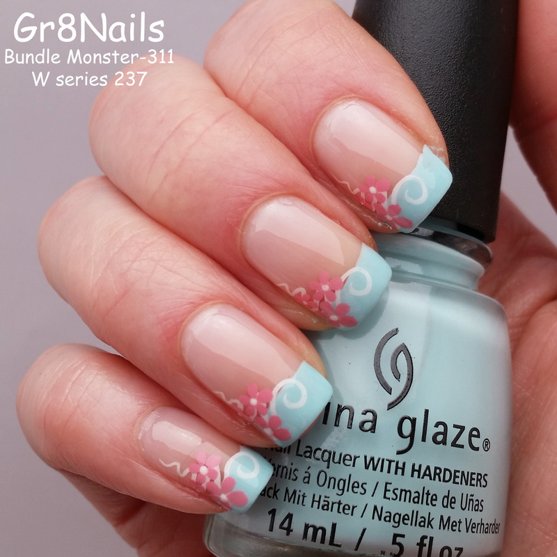 Spring French Manicure nail art by Gr8Nails