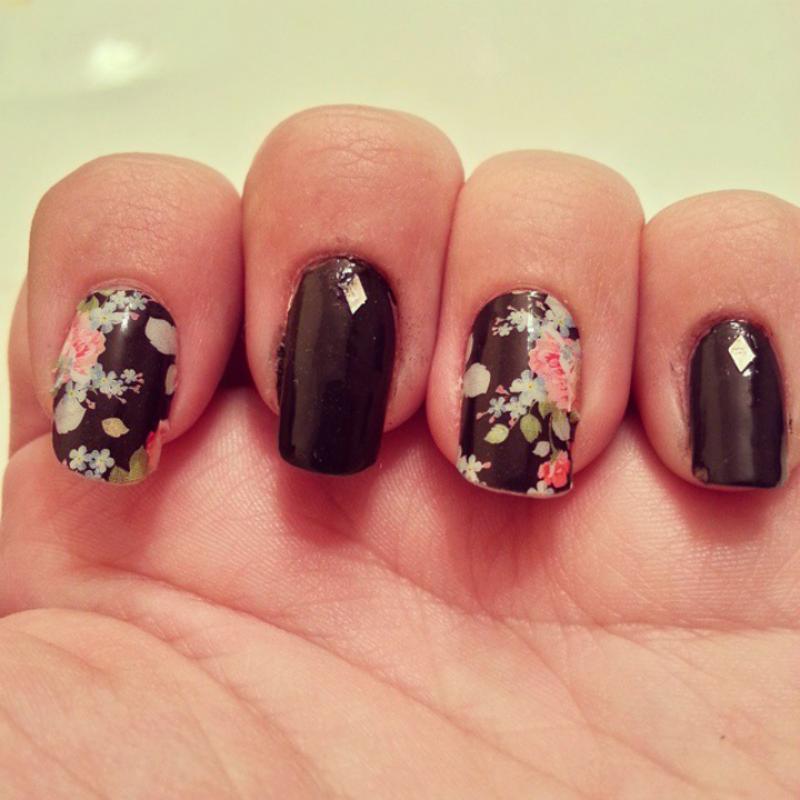 Vintage floral Jamberry nail art by KiboSanti