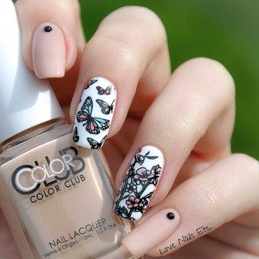 Flowers & Butterflies nail art by Love Nails Etc