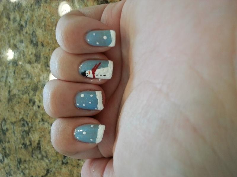 Snowman nail art by KiboSanti