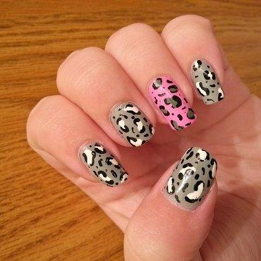 Pink and Grey Lepoard nail art by KiboSanti