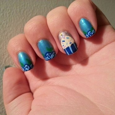 Blue Cupcake for Mom nail art by KiboSanti