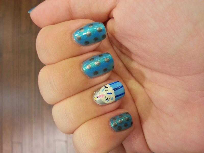 Birthday Nails for Megan nail art by KiboSanti