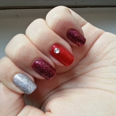 Valentine Bling nail art by KiboSanti