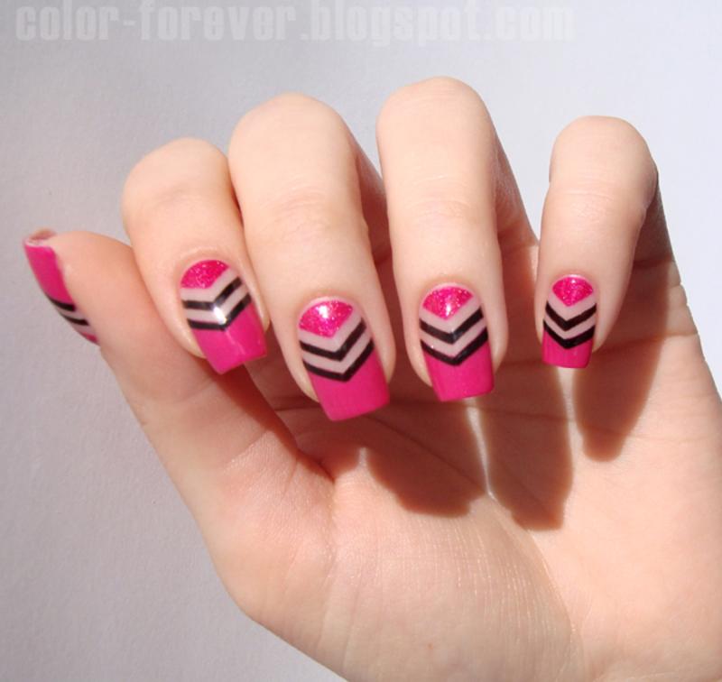 negative space chevron nail art by ania