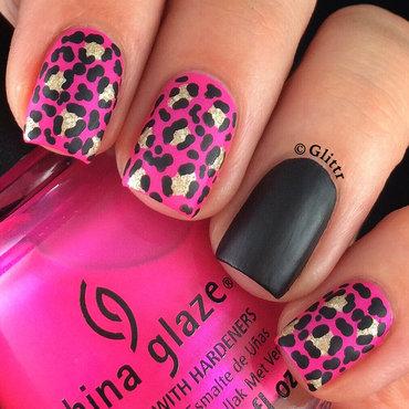 Hot pink matte leopard print nail art by Glittr