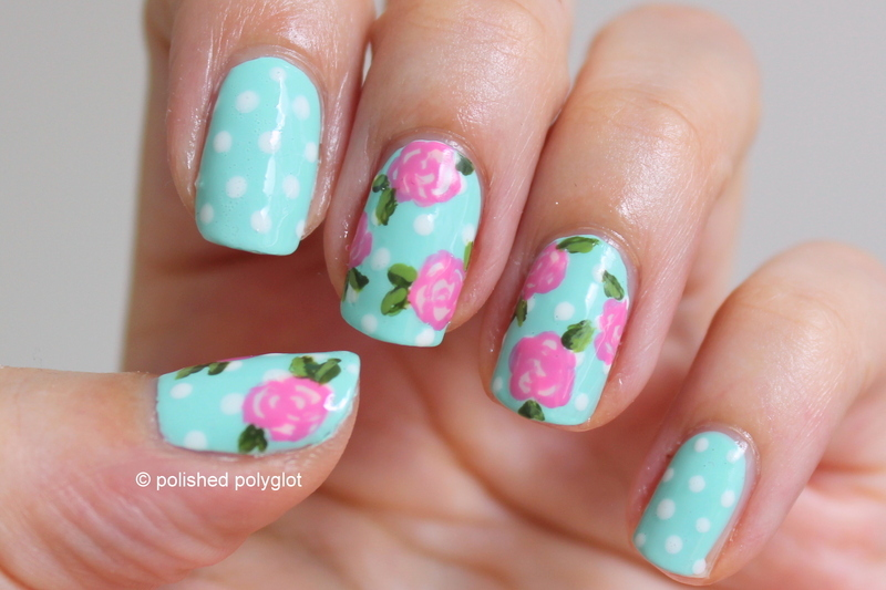 Pink roses and polka dots over mint nail art by Polished Polyglot