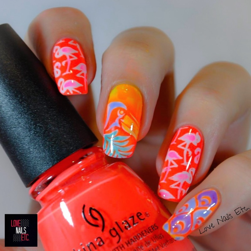 Tropical neon nail art by Love Nails Etc