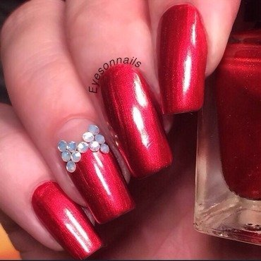 Red & rhinestones nail art by Virginia